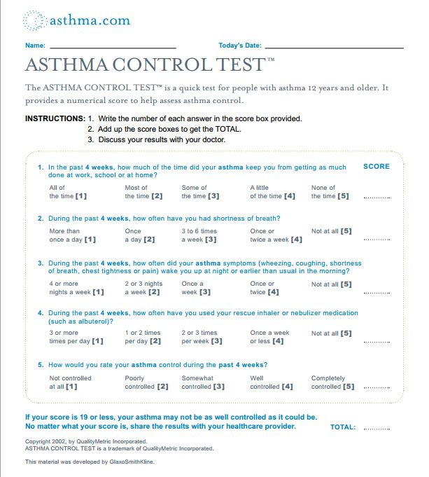 rch guidelines asthma action plan
