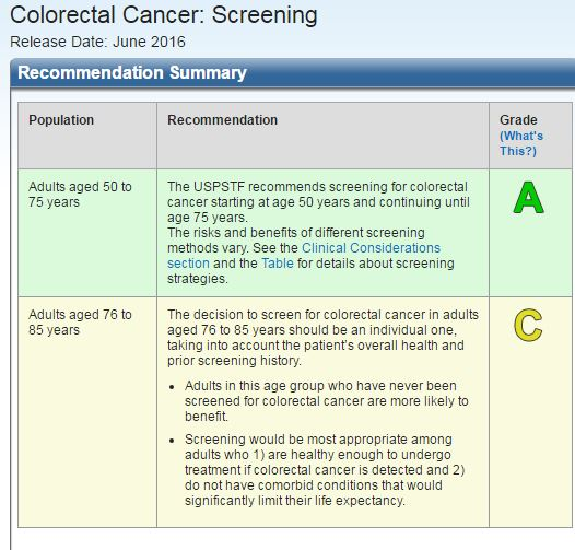 The New 2016 Colon Cancer Screening Guidelines From The U S Preventive Services Task Force Tom Wade Md